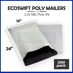 200 19x24 White Poly Mailers Shipping Envelopes Bags