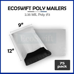 75 9x12 White Poly Mailers Shipping Envelopes Bags 2 35 Mil 9 X 12