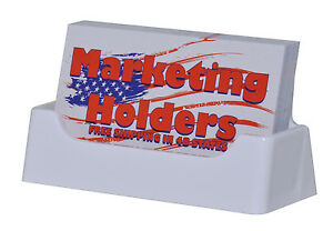 Qty 50 Business Card Holder Display Stand Desk Top White Plastic Made In The Usa