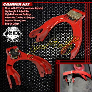 Adjustable Polished Steel Front Camber Kits 94 01 Integra Dc2 92 95 Civic Eg Red