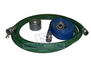 2 Green Pvc Fcam X Mp Suction Hose Trash Pump Kit W 100 Discharge Hose fs