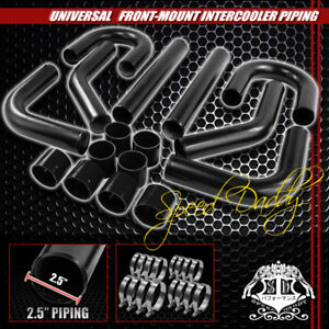 Universal 8pc 2 5 Aluminum Fmic Intercooler Piping Silicone Hose T Clamp Black