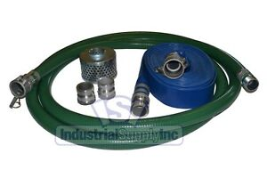 2 Green Pvc Trash Pump Suction Hose Comp Camlock Kit W 50 Discharge Hose