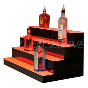 40 Led Bar Shelves Four Steps Lighted Bar Shelf Liquor Bottle Display Rack