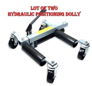 Lots Of 2 1500lb Hydraulic Positioning Car Wheel Dolly Jack Lift Moving Vehicle