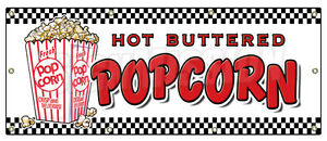 36 x96 Popcorn Banner Sign Stand Cart Concession Signs