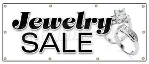 36 x96 Jewelry Sale Banner Sign Signs Store Jeweler Watches Ring Earrings