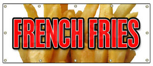 48 x120 French Fries Banner Sign Fry Cart Stand Trailer Signs Potato Chips