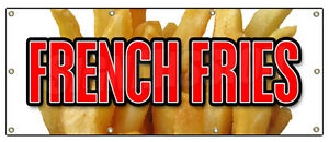 36 x96 French Fries Banner Sign Fry Cart Stand Trailer Signs Potato Chips