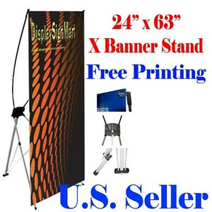 X Banner Stand 24 X 63 Free Graphic Print Trade Show Display Free Bag Pop Up