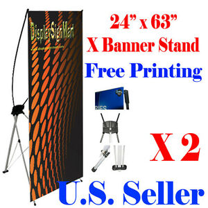 2 Pc X Banner Stand 24 X 63 Free Graphic Print Trade Show Display Free Bag