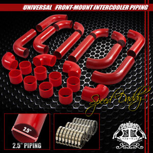 Universal Type 2 12pc 2 5 Aluminum Turbo Intercooler Piping pipe hose clamp Red