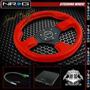 Universal Nrg Pvc Leather Aluminum 32cm Racing Steering Wheel Red yellow Stitch