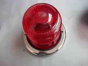 North American Signal Co P n Mi p Red Glass Dome 12v Signal Light Nob Nos