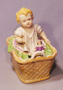 Antique Porcelain Baby In Basket W Doll Figural Covered Trinket Box Container