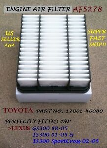 For Lexus Air Filter Gs300 98 05 Is300 01 05 Is300sportcross 02 05 Af5278