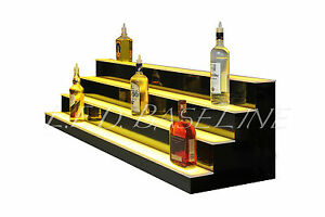 90 Led Bar Shelves Four Steps Lighted Bar Shelf Liquor Bottle Display Rack