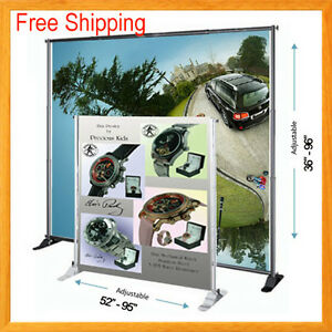 8 Telescopic Banner Stand Adjustable Backdrop Wall Exhibitor Expanding Display