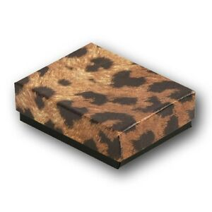 Leopard Cotton Filled Jewelry Gift Boxes 3 1 2 X 3 1 2 X 1 Tall Lot Of 50