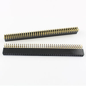80pcs Pitch 2 54mm 2x40 Pin Right Angle Double Row Female Header Strip