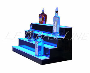 32 Led Lighted Bar Shelves 4 Step Led Liquor Bottle Displ Display Shelving