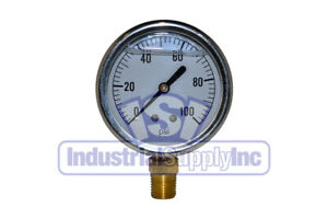 Liquid Filled Pressure Gauge 0 100 Psi 2 1 2 Face 1 4 Lm Single Scale