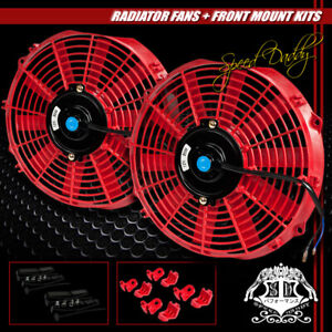 2x Universal Slim 12 Pull Push Radiator Engine Bay Cooling Fan Mounting Kit Red
