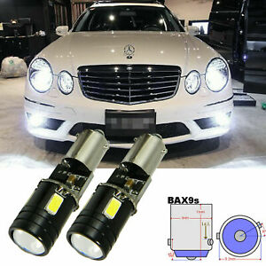 2x White Bax9s 64132 H6w Error Free 8 Smd Led Bulbs For Parking Position Lights