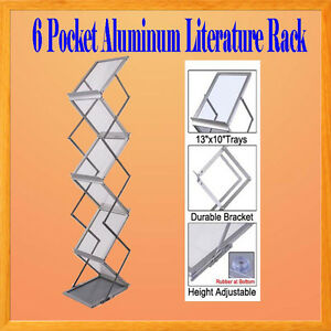 6 Pocket Literature Magazine Catalog Brochure Rack Holder Portable Aluminum