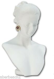 White Necklace Earring Combination Countertop Display Figurine Bust