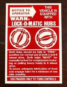 Warn Lock O Matic Hubs Decal Sticker Jeep Willys