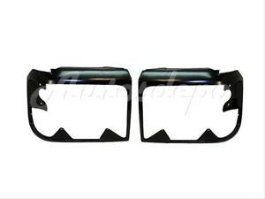 Bundle For 92 96 Ford F150 F250 F350 Bronco Headlight Door Bezel Black Pair