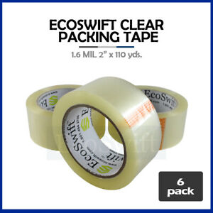 6 Rolls Carton Box Sealing Packaging Packing Tape 1 6mil 2 X 110 Yard 330 Ft