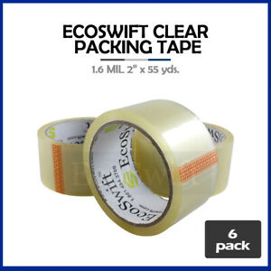 6 Rolls Carton Box Sealing Packaging Packing Tape 1 6mil 2 X 55 Yard 165 Ft