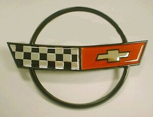 1984 1990 Corvette Nose Emblem Cross Flags Metal Reproduction C4 New