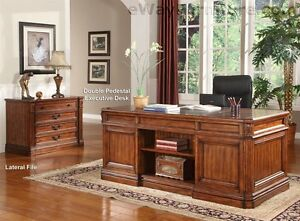 Grand Manor Granada Double Pedestal Executive Desk Home Office Furniture