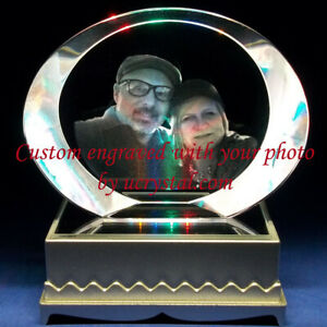 Personalized Custom Laser Etched Engraved Photo Crystal Engraving Gift