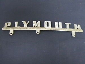 Plymouth Emblem Badge Script Trim Mopar Metal Vintage Race Hot Rat Rod Vintage