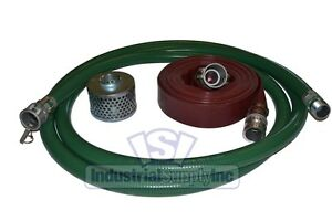 2 Green Fcam X Mp Water Suction Hose Kit W 75 Red Discharge Hose