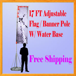 17 Ft Giant Telescopic Adjustable Flag Banner Pole Stand Water Base Wind Dancer