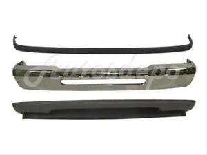 Bundle For 93 97 Ford Ranger Front Bumper Chrome Face Bar Valance Pad Strip 3pcs