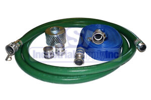 3 Trash Pump Fcam X Mp Water Suction Hose Complete Kit W 25 Blue Discharge