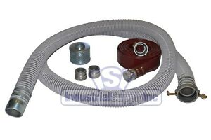 2 Flex Mud Water Suction Hose Complete Kit W 25 Red Discharge Hose