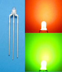 1000pcs 3mm Dual Bi color Red green Diffused 3 Pin Led Common Anode