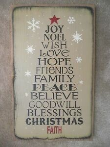 Christmas Tree Word Sign Noel Love Hope Friends Peace Family Believe Goodwill
