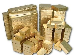 Cotton Filled Jewelry Gift Boxes Lot Of 100 Mixed Sizes See Details Gold