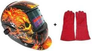 Solar Auto Darkening Welding Helmet Arc Tig Mig Flame Skull Plus Welding Gloves