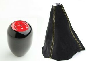 Type R Red 5 Speed Mt Black Shift Gear Knob Yellow Stitch Suede Shift Boot