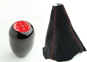 5 Speed Type R Short Black Shift Knob Red Stitch Suede Shift Boot Ek5 Ek3 Ej6