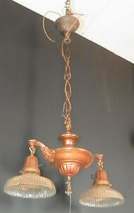 Antique 2 Armed Brass Hanging Light Gill Co Shades Union Turn Key Sockets 5449